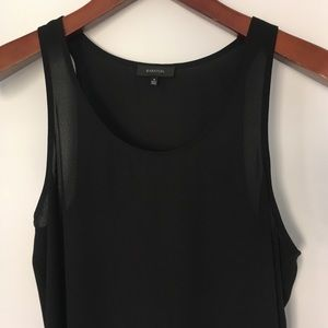 Babaton Black Satiny Relaxed Fit Tank Blouse